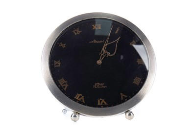 Lot 1116 - AN ABESSI SILVER MANTEL CLOCK IN BOX