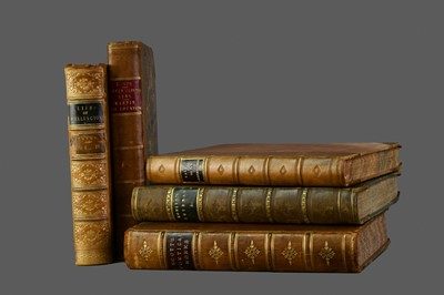 Lot 1141 - LOT OF FIVE LEATHER BOUND BOOKS