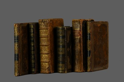 Lot 1142 - LOT OF SIX LEATHER BOUND BOOKS