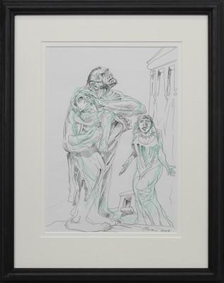 Lot 644 - DAVID AND BATHSHEBA, A MIXED MEDIA BY PETER HOWSON