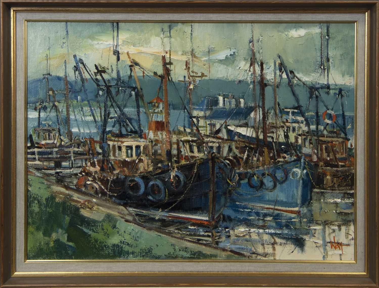 Lot 650 - FISHING BOATS, CRINAN, AN OIL BY JAMES WATT