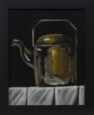 Lot 654 - STILL LIFE COPPER KETTLE, AN OIL BY NATASHA ARNOLD