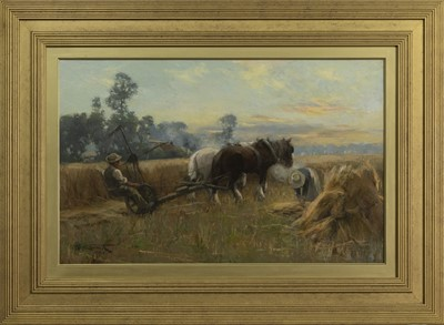 Lot 2017 - THE HARVESTERS, AN OIL BY GEORGE SMITH