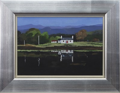 Lot 658 - CALEDONIAN CANAL COTTAGE, AN ACRYLIC BY JAMES JOHNSTON