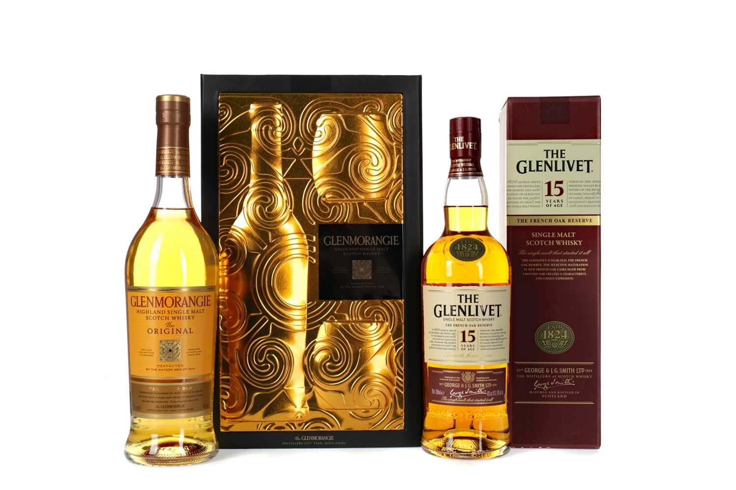 Lot 90 - GLENMORANGIE 10 YEARS OLD GLASS PACK AND GLENLIVET FRENCH OAK RESERVE 15 YEARS OLD