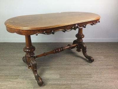 Lot 1634 - A VICTORIAN OAK & WALNUT CENTRE TABLE