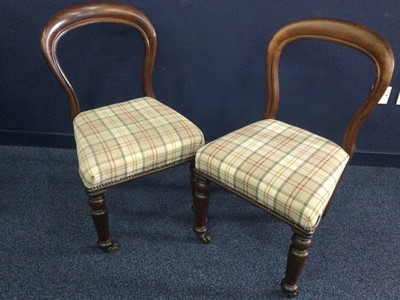 Lot 1635 - A SET OF FOUR MID VICTORIAN MAHOGANY BALLOON BACK DINING CHAIRS