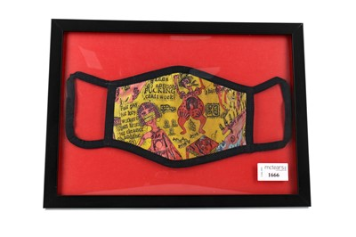 """Lot 1666 - """"WE SHALL CATCH IT ON THE BEACHES"""" FACE COVERING, BY GRAYSON PERRY"""