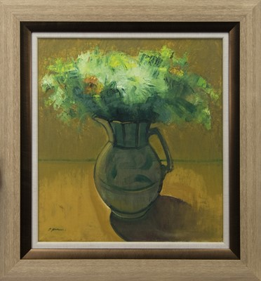 Lot 675 - WILMA'S BIRTHDAY FLOWERS, AN OIL BY DES GORMAN