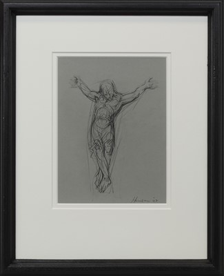 Lot 683 - CRUCIFIXION 2007, A CHARCOAL BY PETER HOWSON