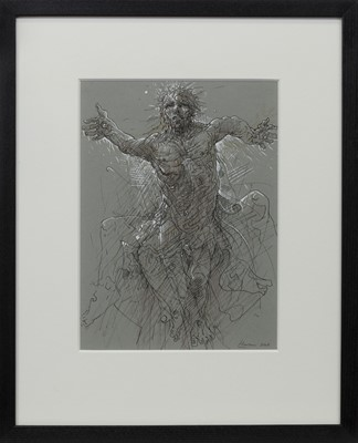 Lot 684 - MORNING STAR, A MIXED MEDIA BY PETER HOWSON