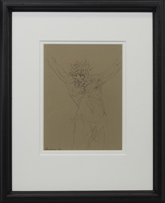 Lot 685 - JESUS 2008, A CHARCOAL BY PETER HOWSON