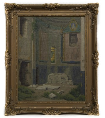 Lot 33 - RUINS AT THE APSE, AN OIL BY WILLIAM MATTHEWS