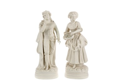 Lot 1062 - A PAIR OF VICTORIAN PARIAN FIGURES