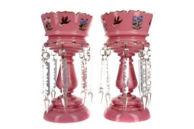 Lot 1063 - A PAIR OF VICTORIAN PINK GLASS LUSTRES
