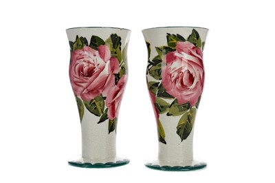 Lot 1086 - A PAIR OF WEMYSS WARE VASES