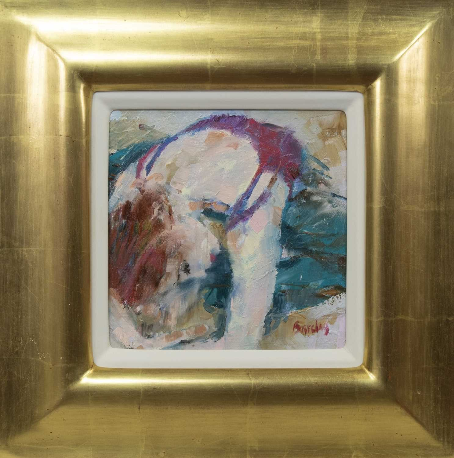 Lot 530 - FORWARD BENT, AN OIL BY MURIEL BARCLAY