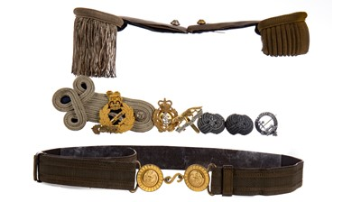 Lot 1642 - THREE LATE 19TH/EARLY 20TH CENTURY EPAULETTES, ALONG WITH A BELT AND BADGES