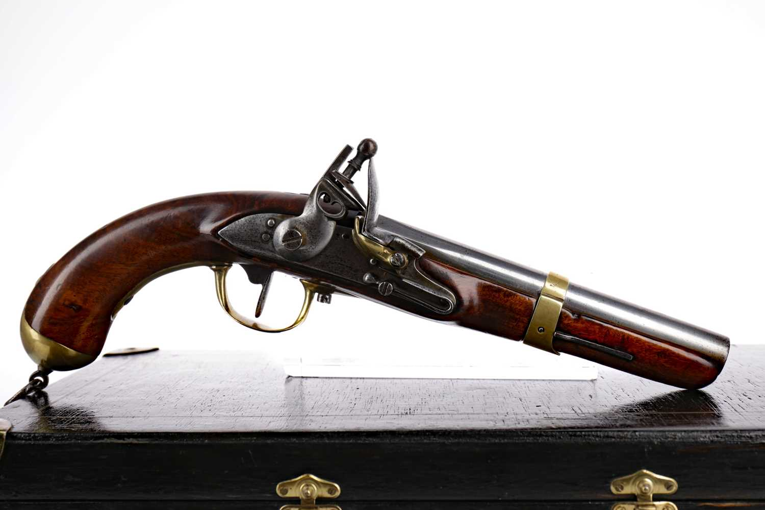 Lot 1388 - A LATE 18TH/EARLY 19TH CENTURY LIEGE CAVALRY OR DRAGOON MILITARY PISTOL