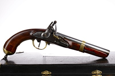 Lot 1644 - A LATE 18TH/EARLY 19TH CENTURY LIEGE CAVALRY OR DRAGOON MILITARY PISTOL