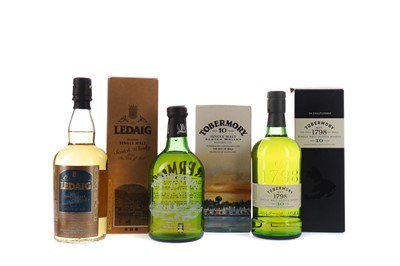 Lot 101 - TWO BOTTLES OF TOBERMORY AGED 10 YEARS, AND ONE LEDAIG PEATED