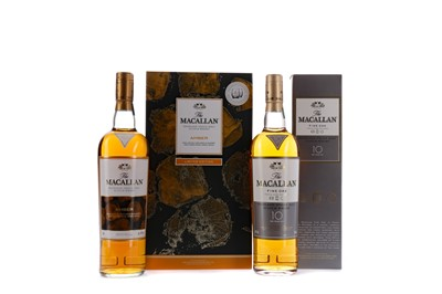 Lot 110 - MACALLAN  AMBER SPECIAL EDITION JUG AND GLASS SET, AND MACALLAN FINE OAK AGED 10 YEARS