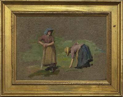 Lot 35 - WOMEN AT WORK, AN OIL BY ROBERT GEMMELL HUTCHINSON