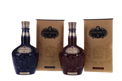 Lot 111 - CHIVAS REGAL ROYAL SALUTE AGED 21 YEARS SAPPHIRE AND RUBY DECANTERS