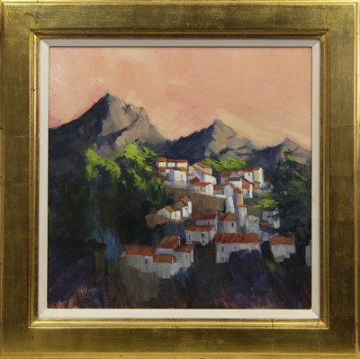 Lot 641 - LAST LIGHT, ANDALUSIAN VILLAGE, AN ACRYLIC BY DOREEN WILLIAMS