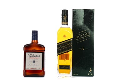 Lot 120 - JOHNNIE WALKER GREEN LABEL AGED 15 YEARS AND BALLANTINE'S CELEBRATION