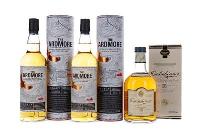 Lot 134 - TWO BOTTLES OF ARDMORE LEGACY AND ONE DALWHINNIE AGED 15 YEARS