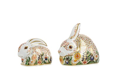 Lot 1070 - ROYAL CROWN DERBY 'ROWSLEY RABBIT' AND 'BABY ROWSLEY RABBIT' PAPERWEIGHTS