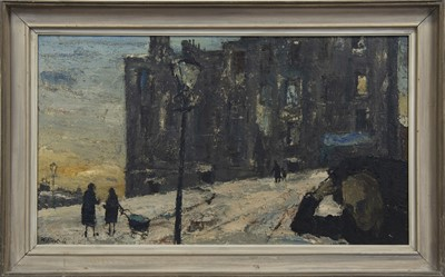 Lot 515 - WINTER SCENE WITH COAL-MAN, ROTTEN ROW, AN OIL BY HERBERT WHONE
