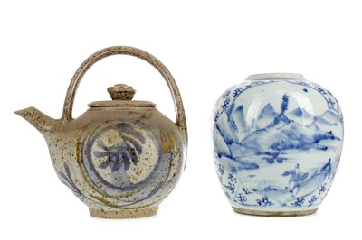 Lot 901 - A LATE 19TH CENTURY CHINESE BLUE AND WHITE JAR AND A TEA POT