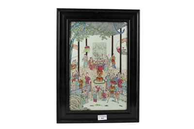 Lot 864 - A 19TH CENTURY CHINESE CERAMIC PANEL