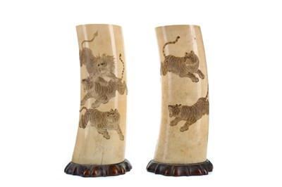 Lot 866 - A PAIR OF EARLY 20TH CENTURY IVORY TUSK SECTIONS