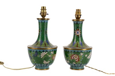 Lot 869 - A PAIR OF CHINESE CLOISONNE VASE LAMPS