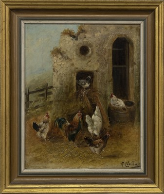 Lot 46 - CHICKENS FEEDING, AN OIL BY R CLAUSER