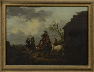 Lot 50 - FIGURES AND HORSES BY A BARN, A 19TH CENTURY OIL