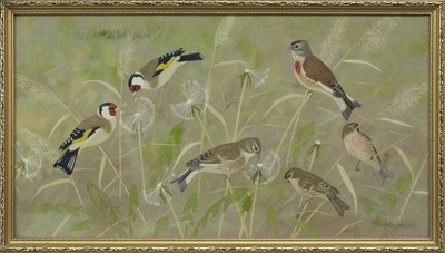 Lot 37 - PERCHED BIRDS, A WATERCOLOUR BY RALSTON GUDGEON