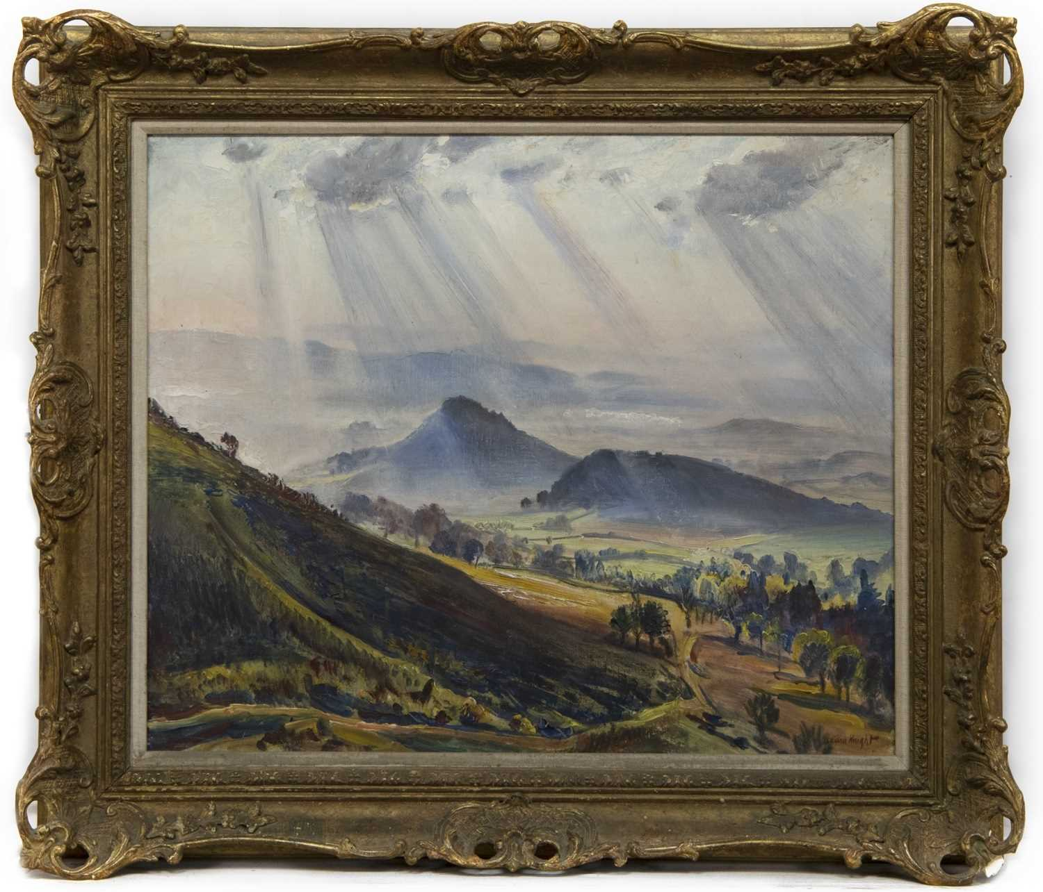 Lot 39 - SUN RAYS ON THE MALVERN HILLS, AN OIL BY DAME LAURA KNIGHT