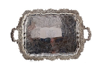 Lot 493 - A WILLIAM IV OLD SHEFFIELD PLATE TEA TRAY