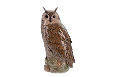 Lot 1054 - A LARGE ROYAL COPENHAGEN CERAMIC MODEL OF AN OWL