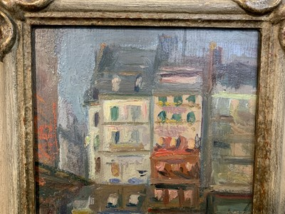 Lot 2002 - CORNER OF A SQUARE AT NIGHT, PARIS, AN OIL BY GEORGE LESLIE HUNTER