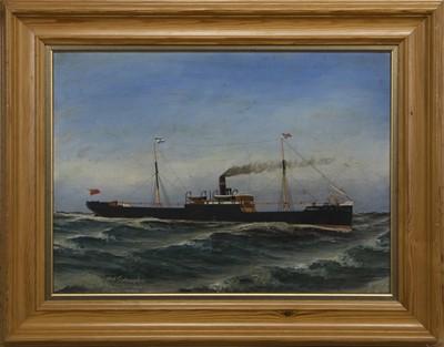 Lot 54 - SHIP AT SEA, AN OIL BY OLAF GULBRANDSEN