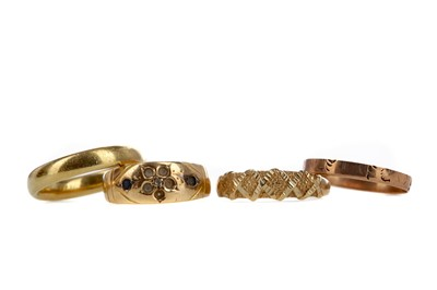 Lot 1313 - FOUR GOLD RINGS