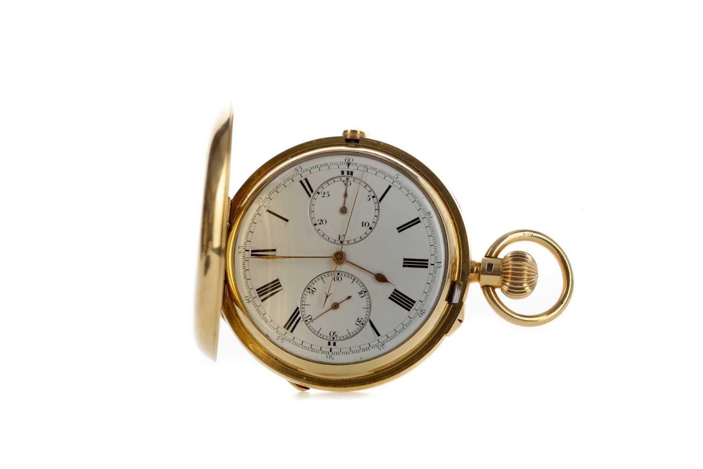 Lot 734 - AN EIGHTEEN CARAT GOLD FULL HUNTER CHRONOGRAPH POCKET WATCH