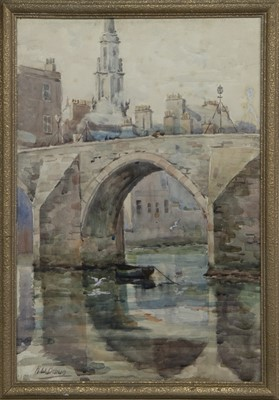 Lot 53 - AULD BRIG, AYR, A WATERCOLOUR BY ROBERT WILLIAM BROWN