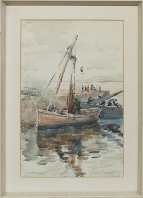 Lot 52 - SETTING THE SAILS, A WATERCOLOUR BY ROBERT WILLIAM BROWN