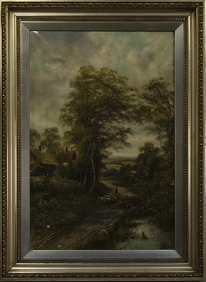 Lot 43 - DRIVING THE FLOCK, AN OIL BY OCTAVIUS THOMAS CLARK